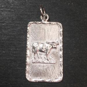 "Silver ""Happiness "" &  OX Zodiac Charm Pendant"